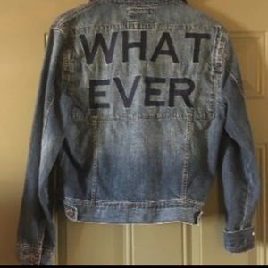 """Forever 21 Jean Jacket Size Small """"WHATEVER"""" Back"""
